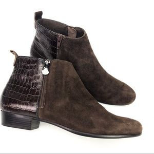 Munro Lexi Ankle Boots Suede Croc Print 9.5 Narrow